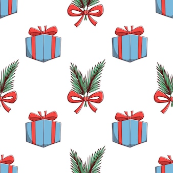 Nahtlose muster weihnachtsgeschenkbox und blätter dekoration