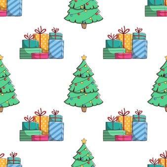 Nahtlose muster weihnachtsgeschenkbox und weihnachtsbaum