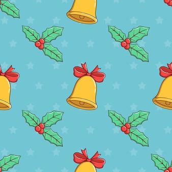 Nahtlose muster weihnachtsglocke und blätter