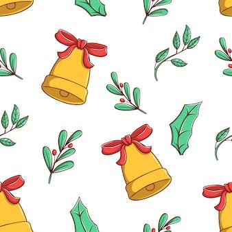 Nahtlose muster weihnachtsglocke und blumen