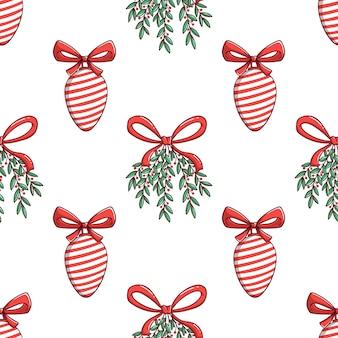 Nahtlose muster weihnachtsglühbirne mit blumendekoration