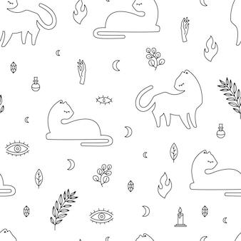 Nahtlose muster weiße katze verschiedene posen und dekoratives boho-stilelement, vektor wiederholen mystische illustration auf weißem hintergrund