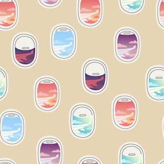 Nahtlose musteransicht vom bullauge verschiedene sich wiederholende flugzeugfenster mit vorhängen