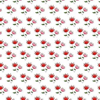 Nahtlose musterblumen mit blatthintergrund