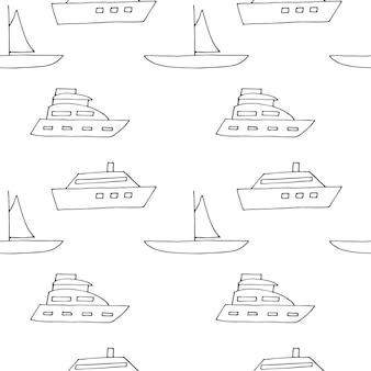 Nahtlose musterboote, vektorillustration, hand gezeichnet