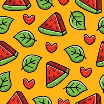 Nahtlose musterentwurf des wassermelonen-cartoon-gekritzels
