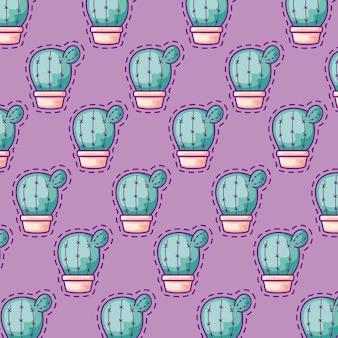 Nahtlose musterflecken des kaktus in den topfpflanzen