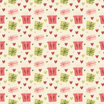 Nahtlose mustergeschenke und herzen des valentinstags. grußkarte oder einladung im trendigen stil.