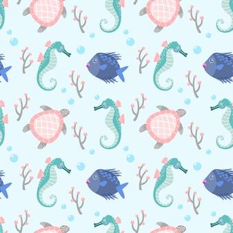 Nahtlose mustergewebetextiltapete der netten fischseepferdchen und -schildkröte.