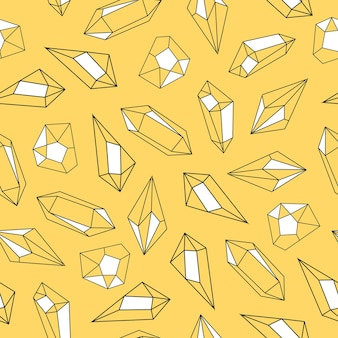 Nahtlose musterhand der kristalle gezeichnet auf gelbem hintergrund
