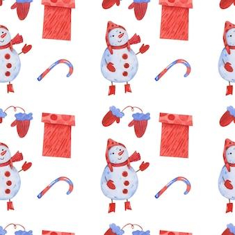 Nahtlose musterhand des netten winters weihnachten gezeichnet in aquarell