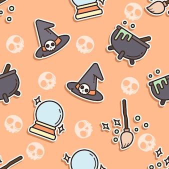 Nahtlose musterhexe am halloween-tag