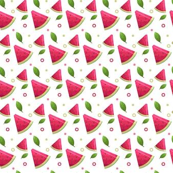 Nahtlose musterhintergrundschablone des wassermelonenfruchtsommers