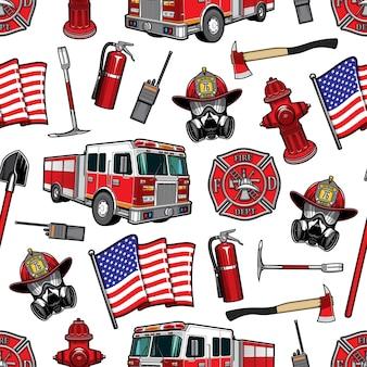 Nahtlose musterillustration der brandbekämpfung