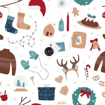 Nahtlose musterillustration der frohen weihnachten.