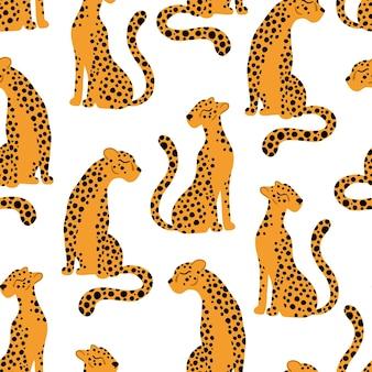 Nahtlose musterillustration der leoparden von tropischen tieren in der einfachen karikatur