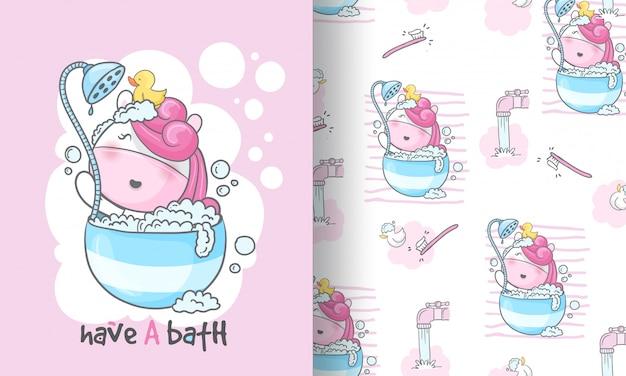 Nahtlose musterillustration der schönheitseinhorn-babyparty für kinder