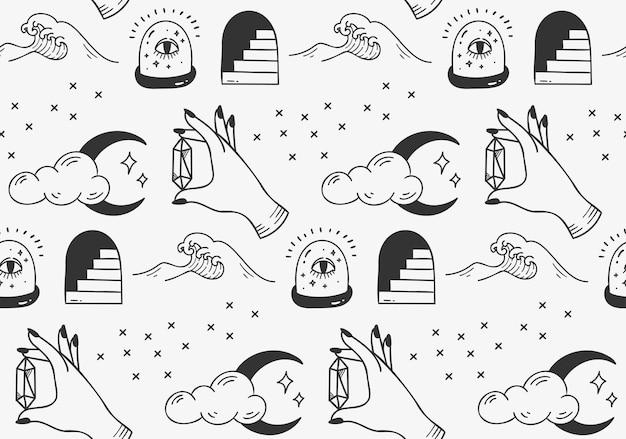 Nahtlose musterillustration des abstrakten symbols