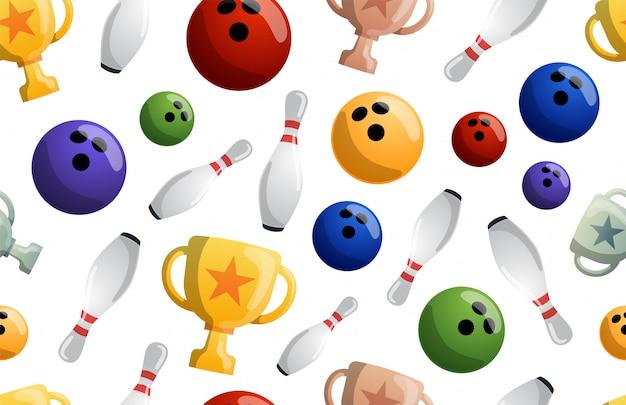 Nahtlose musterillustration des bowlingspiels. ball kracht gegen die stifte und bekommt einen treffer. bowling-turnier. gewinner der meisterschaft. siegesbecher
