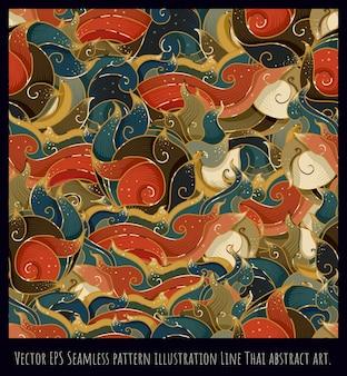 Nahtlose musterillustration hand gezeichnete thailändische kunst der alten art.