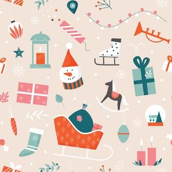 Nahtlose musterillustration weihnachten.