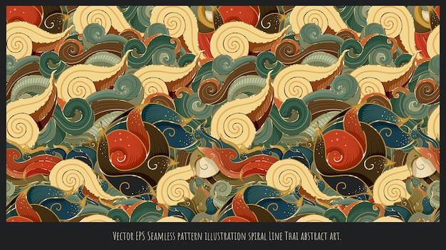 Nahtlose musterillustrationsspirale linie thailändische abstrakte kunst.