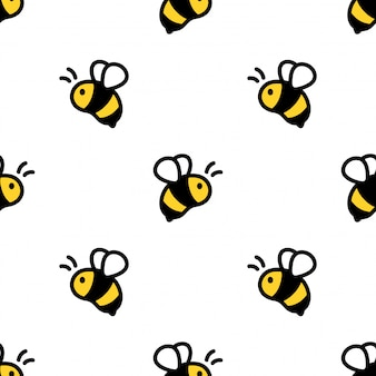 Nahtlose musterkarikaturillustration der honigbiene