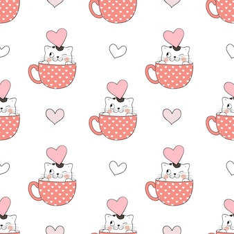 Nahtlose musterkatze in der schale für valentinstag