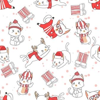 Nahtlose musterkatzen am weihnachtstag