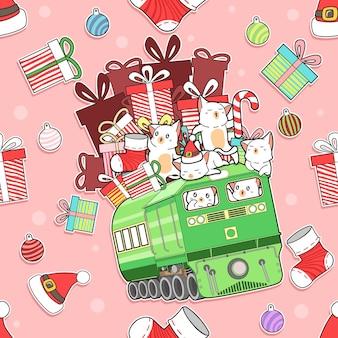 Nahtlose musterkatzen in der weihnachtskarikatur