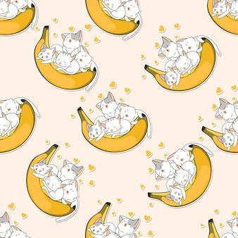 Nahtlose musterkatzen lieben bananenkarikatur