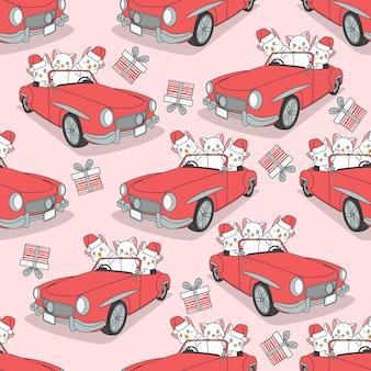 Nahtlose musterkatzen mit auto am weihnachtstag