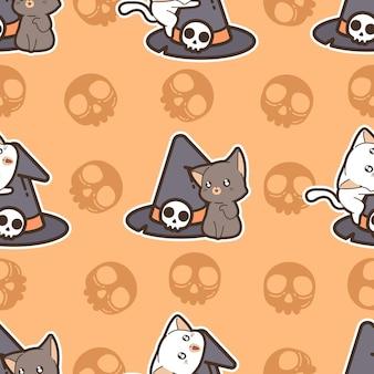 Nahtlose musterkatzen und hexenhut am halloween-tag