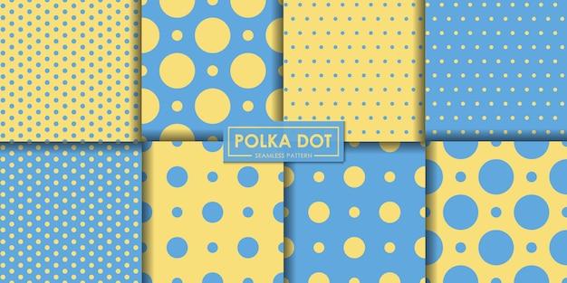 Nahtlose musterkollektion des blauen und gelben polkadot
