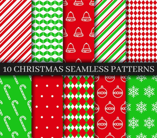 Nahtlose musterkollektion weihnachten. weihnachten neujahr textur. weihnachtspapier.