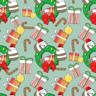 Nahtlose musterpandas mit weihnachtstag