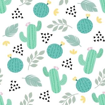 Nahtlose musterpastellfarbe des kaktus auf weißem hintergrund für stoff, papier bedruckte tapete