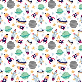 Nahtlose musterrakete und weltraumplaneten-ufo und stern kritzeln art
