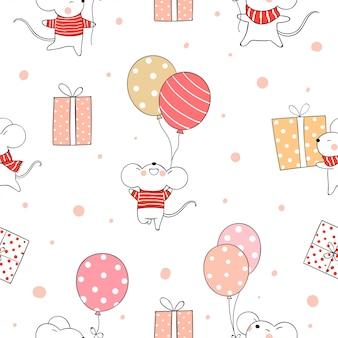 Nahtlose musterratte, die ballon für weihnachten und neues jahr hält.