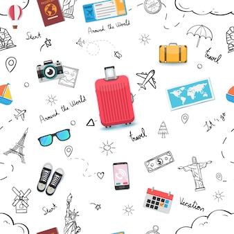 Nahtlose musterreise oder geschäftsreise. doodle hand draw traveller mit top weltberühmten wahrzeichen.