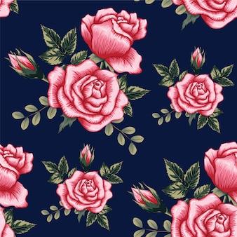 Nahtlose musterrosa rose blüht hintergrund.