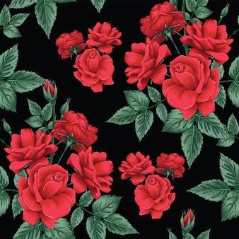 Nahtlose musterrot rose blüht hintergrund.