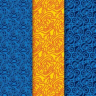 Nahtlose musterschablone der blauen und gelben linien