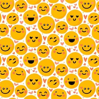 Nahtlose musterschablone von emoticons und herzen