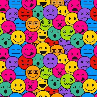 Nahtlose musterschablone von emoticons