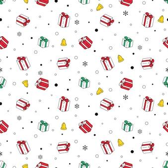 Nahtlose musterschneeflocke der weihnachtsgeschenkbox