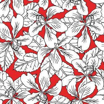 Nahtlose musterschwarzweiss-blumen auf rotem hintergrund