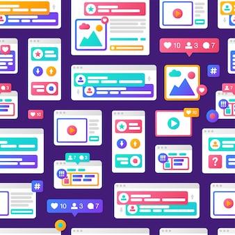 Nahtlose mustersocial media-kommunikation mit bunten plattformübergreifenden browserfenstern