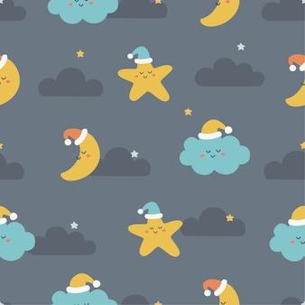 Nahtlose mustersterne, mond und wolken. kawaii tapete auf blauem hintergrund. baby süße pastellfarben.