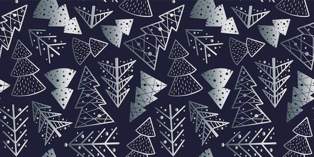 Nahtlose mustertapete mit weihnachtswald für neujahrsfeiertage silberbaum für design
